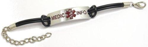 情報を刻印するアクセサリー MEDIC INFO CASUAL ステンレス ブレスレット -ラバーバンドタイプ