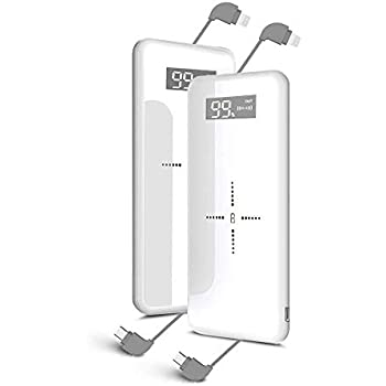 モバイルバッテリー Qi ワイヤレス充電 ケーブル内蔵 LCD残量表示 10000mAh 大容量 無線充電器 軽量 薄型 ライトニング/microUSB/type-Cコネクタ付 USBポート スマホ 充電器 四台同時充電でき コンパクトで持ち運び便利 置くだけ充電iphone/ipad/Android対応 (ホワイト)…