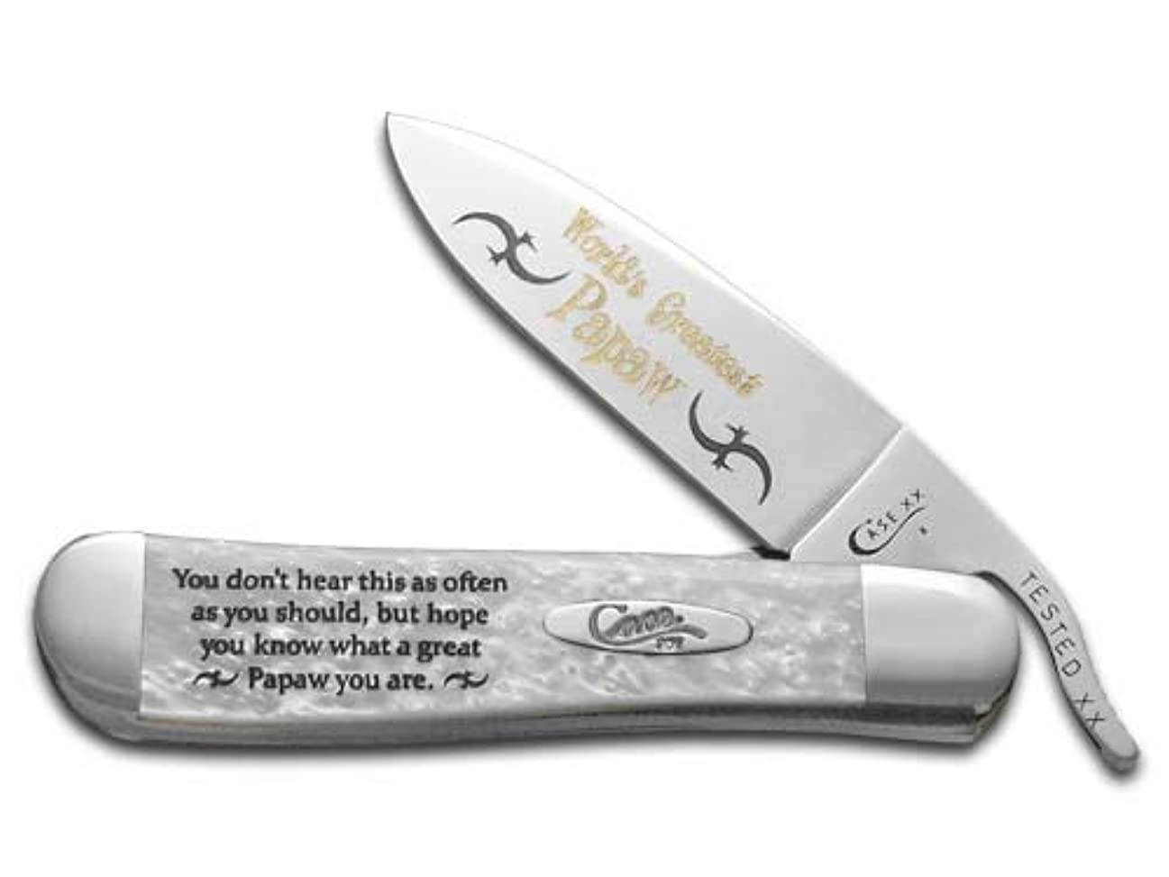 受信在庫スタジアムCASE XX Worlds Greatest Papaw ホワイトパール Corelon Russlock ステンレスポケットナイフ