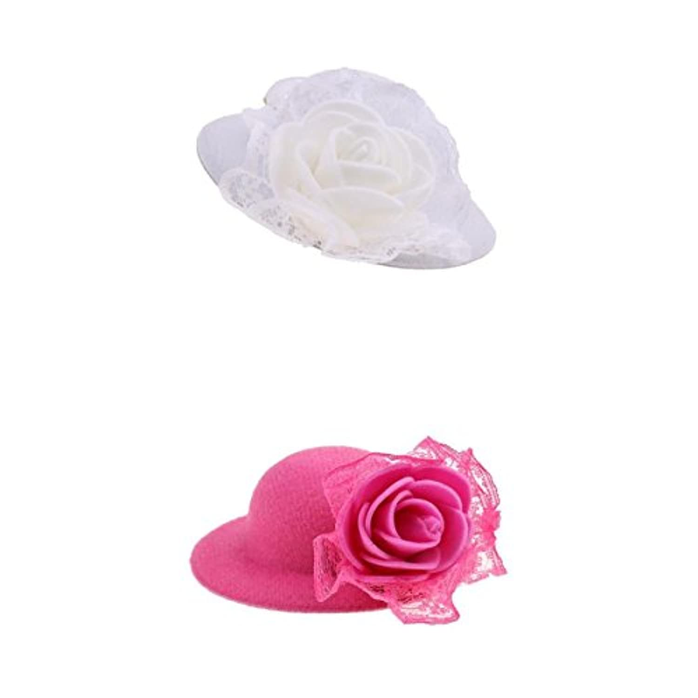 Fenteer ピンク/ホワイト バービー人形服のため ペア ラウンド ボウラーハット 帽子 人形服アクセサリー
