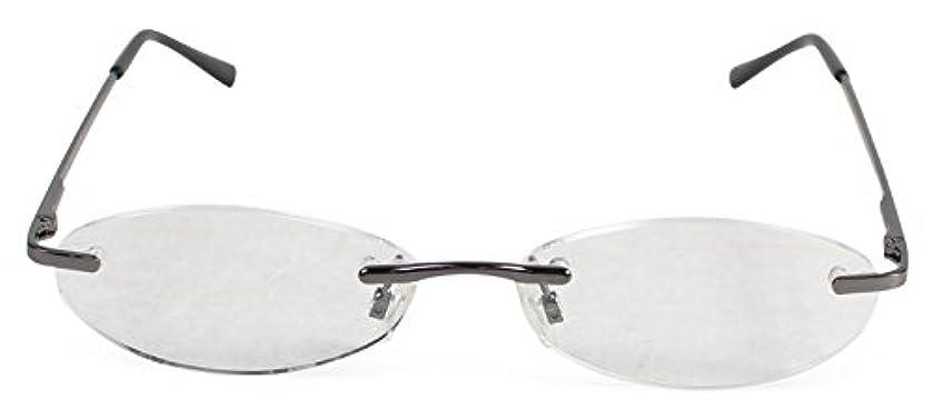 駐地呼び出す満州エール 老眼鏡 +1.0 度数 縁なし グレー AF101S+1.0