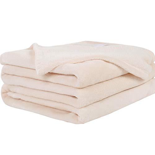 Oseamaid 毛布 マイクロファイバー シングル 140X200cm 柔軟軽量 洗濯可能 静電防止 抗菌防臭 (ベージュ)