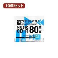 (2個まとめ売り) 10個セット VERTEX CD-R(Audio) 80分 5P インクジェットプリンタ対応(ホワイト) 5CDRA.80VX.WPX10