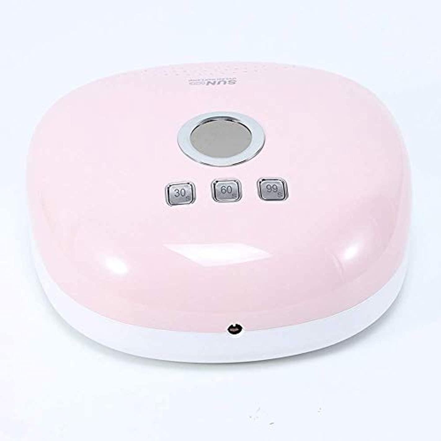 暴力壁無意味48ワットUVネイルドライヤー、LEDディスプレイスマート赤外線誘導大空間速乾性痛みのない24個のデュアルランプ付きビーズランプ、ピンク (Color : Pink)