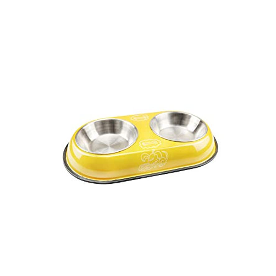 Xian 犬用ボウル、ステンレススチール製ペットボウル、ペット用犬用猫の給餌ボウル - 塗装済みダブルボウル - ブラウン Easy to Clean Non-Skid Bowls for Dogs (Color : Yellow, Size : 14.6*7.8*1.6)