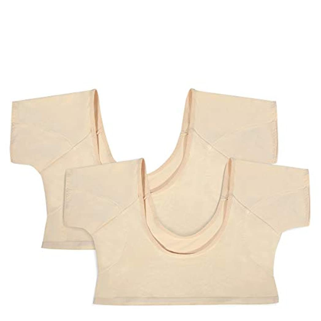 噛む後世人LC-dolida 汗取りインナー 2枚組み レディースインナーシャツ 汗脇パッド付き ワキサラット ワキ汗対策 色透け難い 極薄い 吸水速乾 汗取りパッド(Mサイズ)