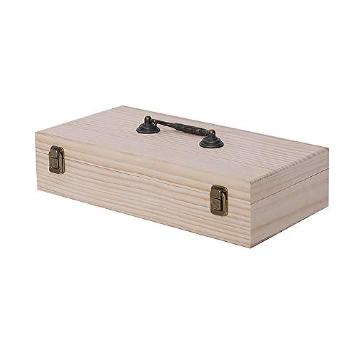合併ダース摘むエッセンシャルオイルボックス エレガントな装飾デザインに有意な保護5?15ミリリットルボトル用キャリングケース46個のスロット木製の精油収納ボックス アロマセラピー収納ボックス (色 : Natural, サイズ : 36.5X18.5X8.5CM)