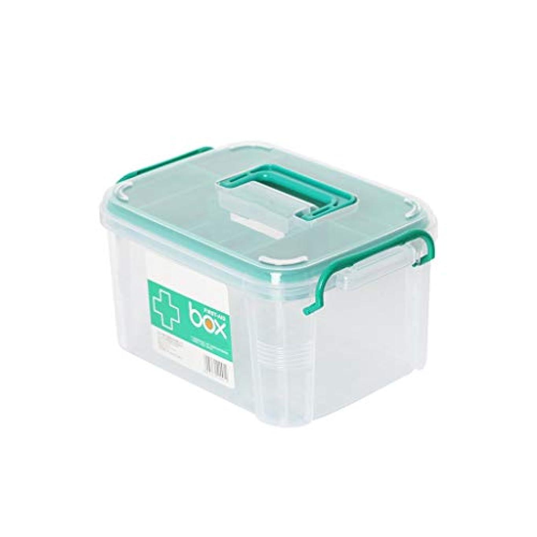 受粉するステレオタイプ松明家族の携帯用の薬箱の多層救急箱のヘルスケアの医療箱の多機能のプラスチック薬箱 CQQO (Color : Clear, Size : 34×24×20.5cm)