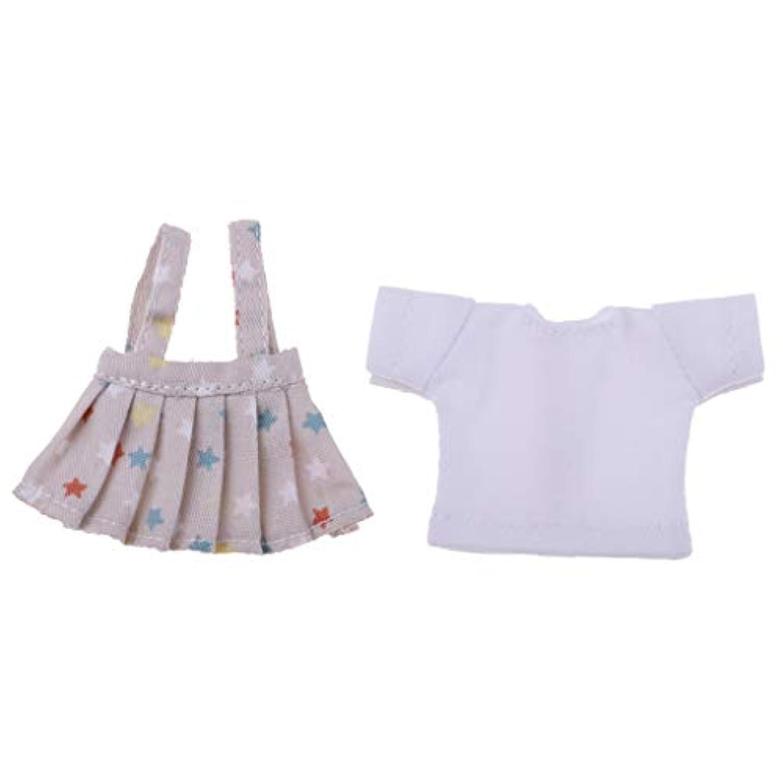 Baoblaze 人形服 Tシャツ 11cmのobitsu人形のため サスペンダースカート スーツ 全7色 - 星柄