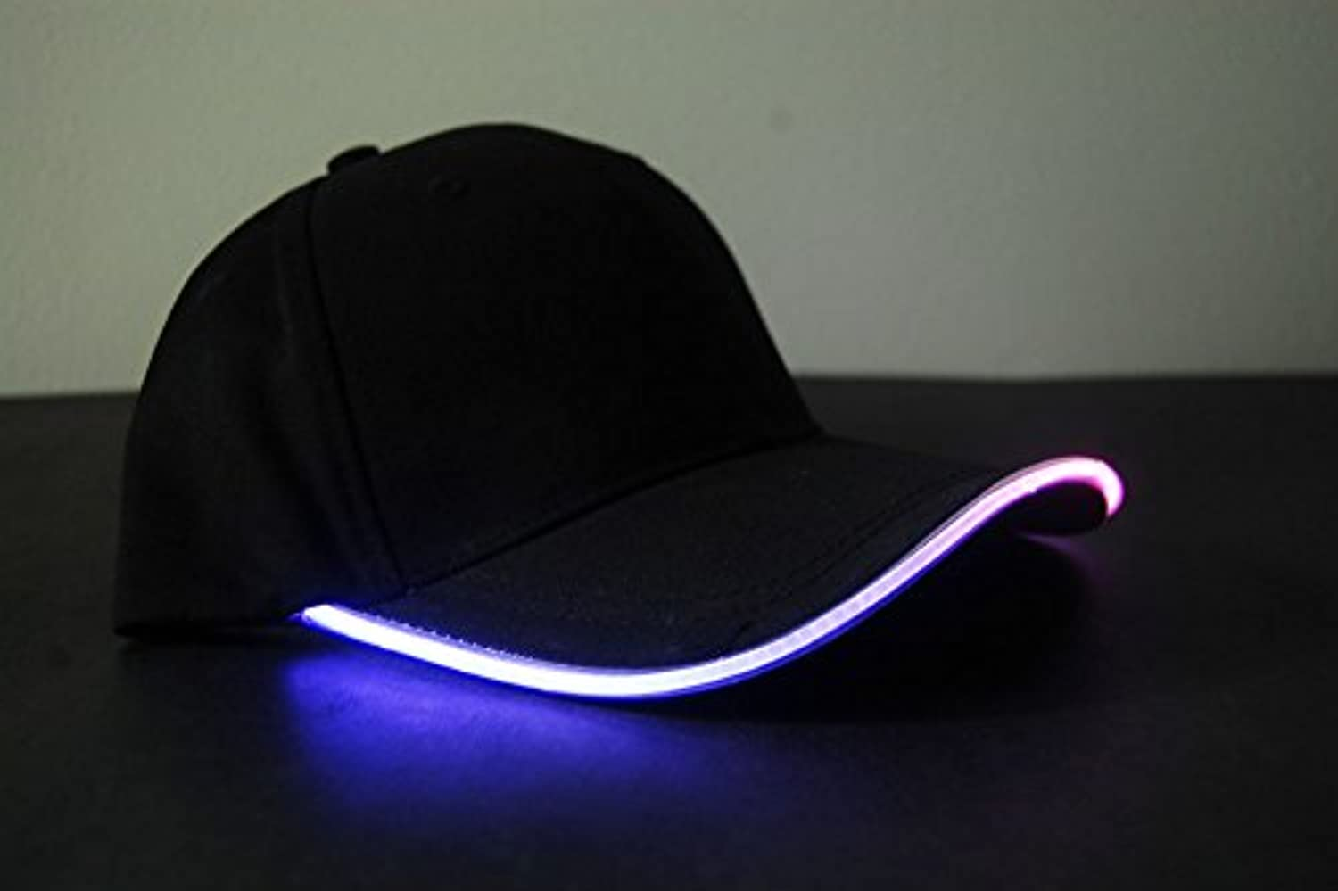 (Multicolor) - Black Fabric LED Lighted Glow Hat- MultiColor