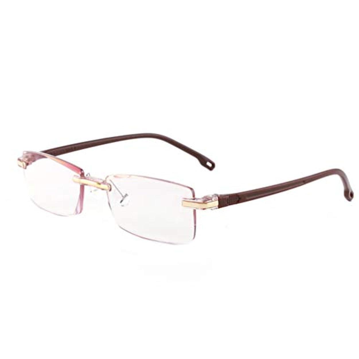 トマトモットー着服HD老眼鏡、スーパーライトスタイリッシュな男性女性太陽メガネ 、アンチブルーライトアンチ頭痛眼精疲労、コンフォートスプリングヒンジ、ダイヤモンドカットエッジフレームレス老眼鏡