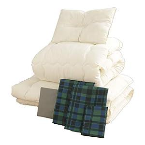 布団セット 7点 洗える ほこりの出にくい布団 きめ細やかなピーチスキン加工 固綿 軽量 低ホルムアルデヒド仕様 収納ケース付 シングル チェック グリーン