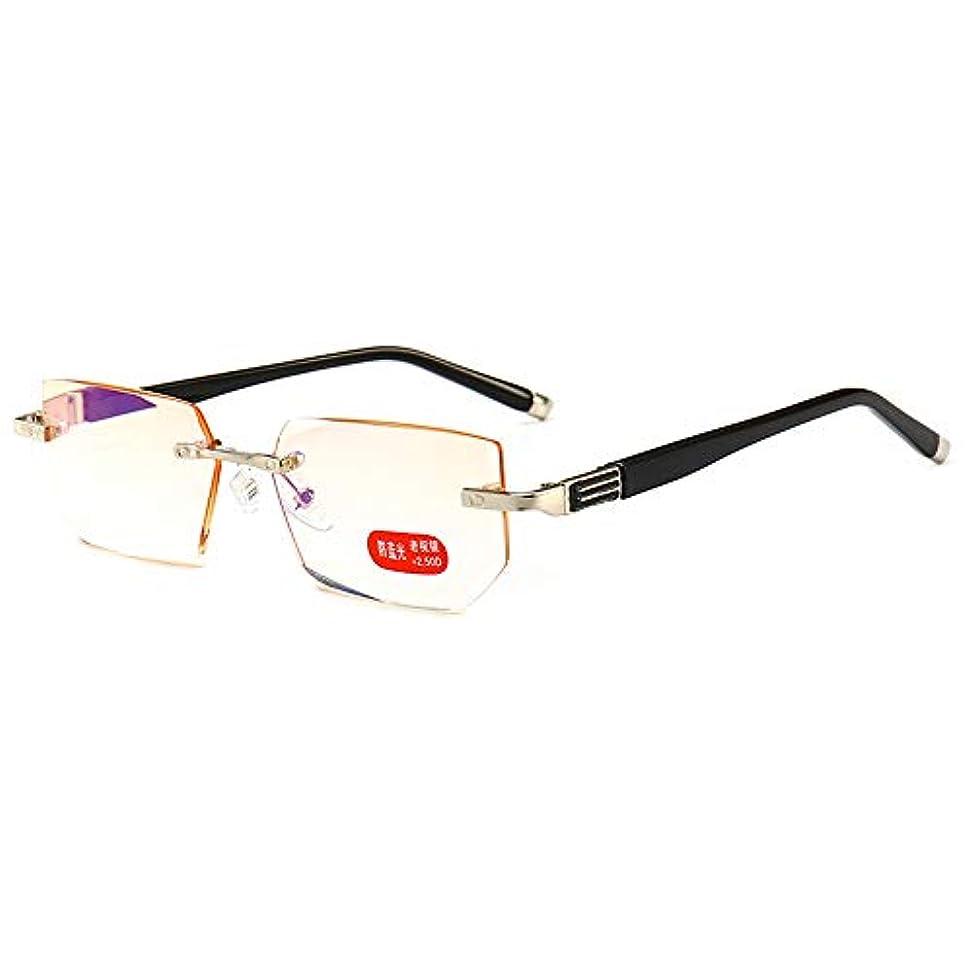 アンチブルー老眼鏡、超軽量の男性と女性のフレームレス老眼鏡、抗疲労HD老眼鏡、父の母親の最高の贈り物ZDDAB