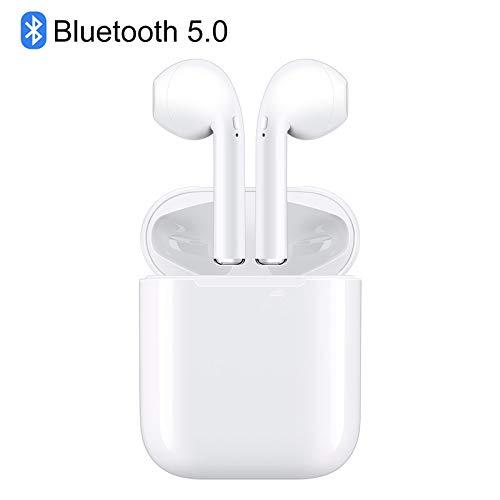 【最新 Bluetooth5.0】 ワイヤレスイヤホン ブルートゥース高音質 自動ON/OFF自動で接続ペアリング両耳通話 5時間連続音楽再生可能iPhone/Airpods/Android対応 (ホワイト)
