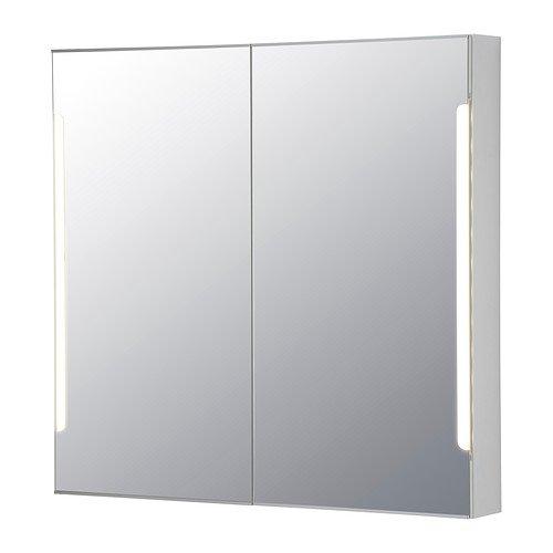 【IKEA/イケア】STORJORM ミラーキャビネット 扉2枚/ビルトイン照明, ホワイト