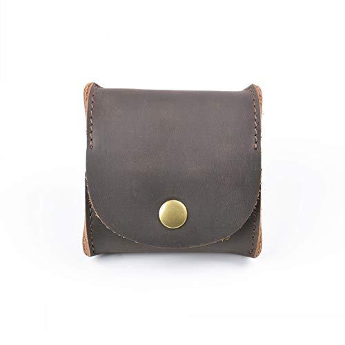 ZAKALE 一流の革職人が作る メンズ小銭入れ 本革 コインケース ボックス型 ボタン式 (コーヒー)