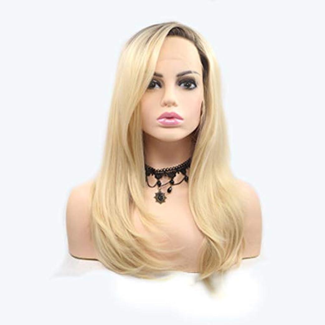 世界の窓落花生フラフープヘアピース 女性のためのかつらロングストレートヘアマイクロロールグラデーションゴールドかつらヘアセットフロントレース化学繊維ヘッドギア