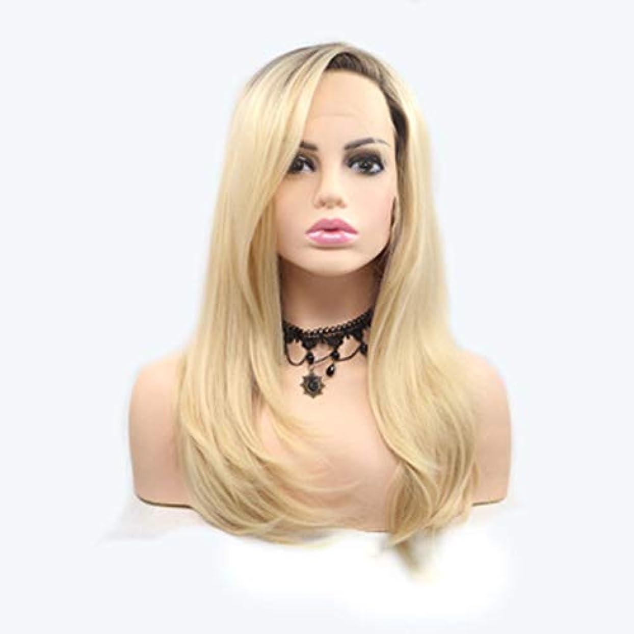 吸い込む福祉アカデミーヘアピース 女性のためのかつらロングストレートヘアマイクロロールグラデーションゴールドかつらヘアセットフロントレース化学繊維ヘッドギア