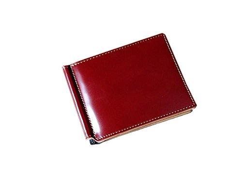 コードバン(馬尻革)×本白ヌメ革 マネークリップ (チョコ×Gブラウン)