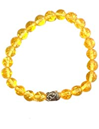 Aatm Reiki Energized natural 7-8mm Buddha Beaded Citrine Crystal Gemstone Chakra Bracelet For Healing