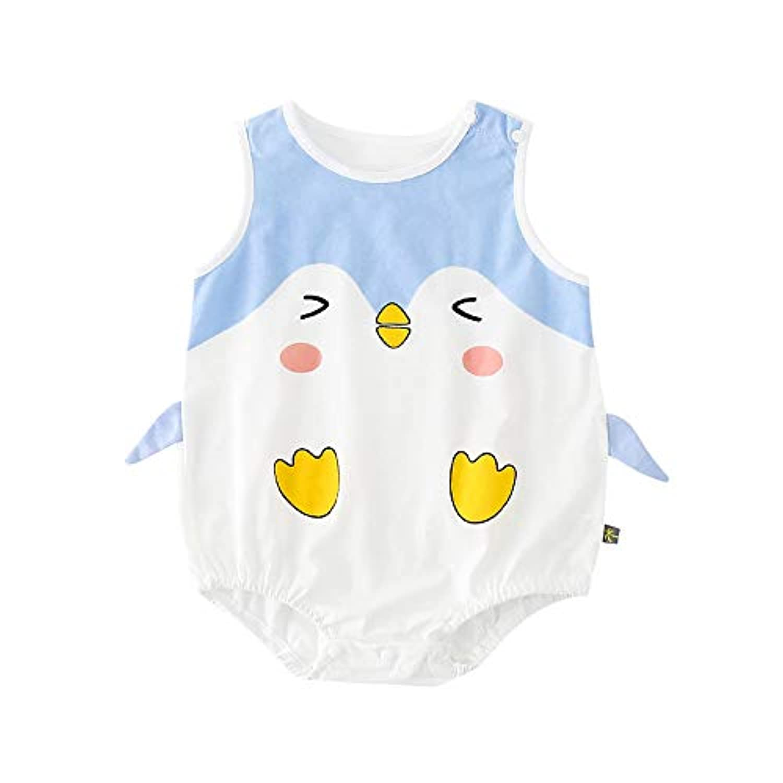 Baby nest ベビー服 男の子 女の子 夏 ロンパース 半袖 新生児服 ノースリーブ 肌着 着ぐるみ かわいい ペンギン 3-6ヶ月