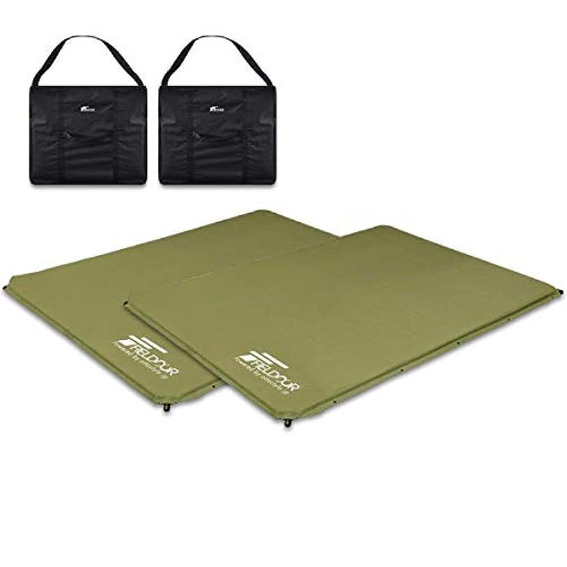 モザイク禁止するライドFIELDOOR キャンプマット 車中泊マット 5cm厚 収納バッグ付き ボタン連結式 4バルブ インナーマット ウレタン クッション アウトドア