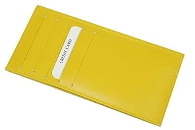 カード10枚収納 牛革製ウォレットイン薄型カードケース (イエロー)04010425