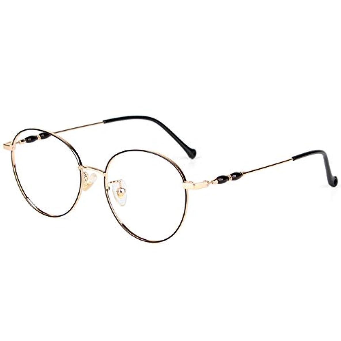 ラウンドフレームレディース老眼鏡、快適な抗疲労合金フレーム、Hd樹脂レンズ、快適でスタイリッシュな