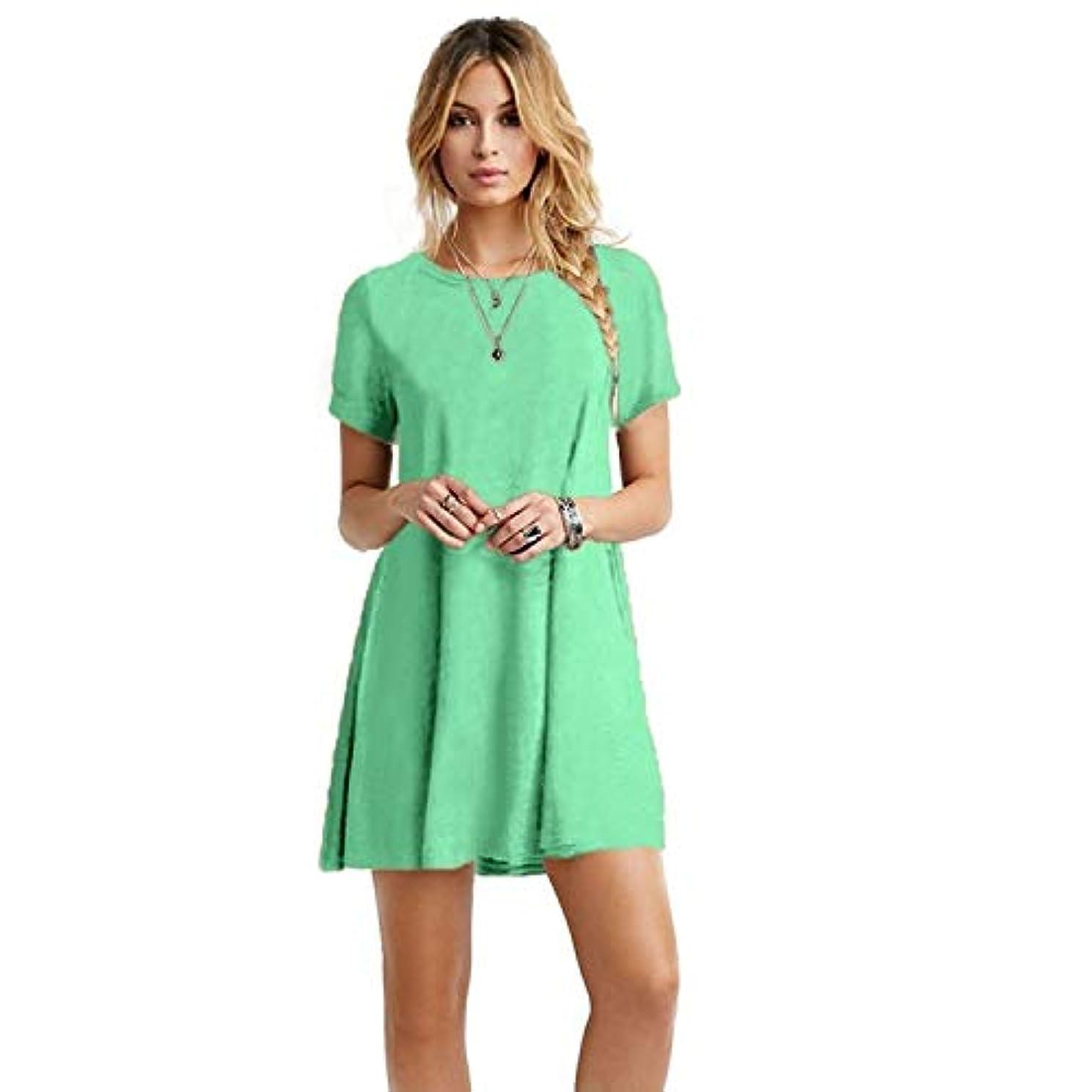 牛動かないとまり木MIFAN女性のファッション、カジュアル、ドレス、シャツ、コットン、半袖、無地、ミニ、ビーチドレス、プラスサイズのドレス