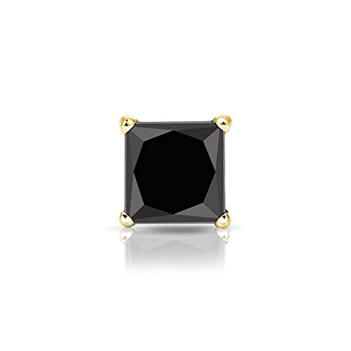 副産物現在寝てる14 Kゴールド4プロングMartiniプリンセスブラックダイヤモンドメンズシングルスタッドイヤリング( 1 / 4 – 2 ct、ブラック) SLB