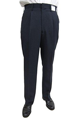スラックス メンズ洗える ワンタック ビジネス パンツ(裾上げテープ付)1140(82cm, ネイビー(濃紺))