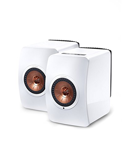 KEF LS50 Wireless Speaker - White/Copper Pair + 5200mAh Candy bar-Sized Ultra Compact Portable Charger + Wireless 4.1 Magnetic Earbuds aptX Stereo Earphones (spkph362)【並行輸入品】Amazontry