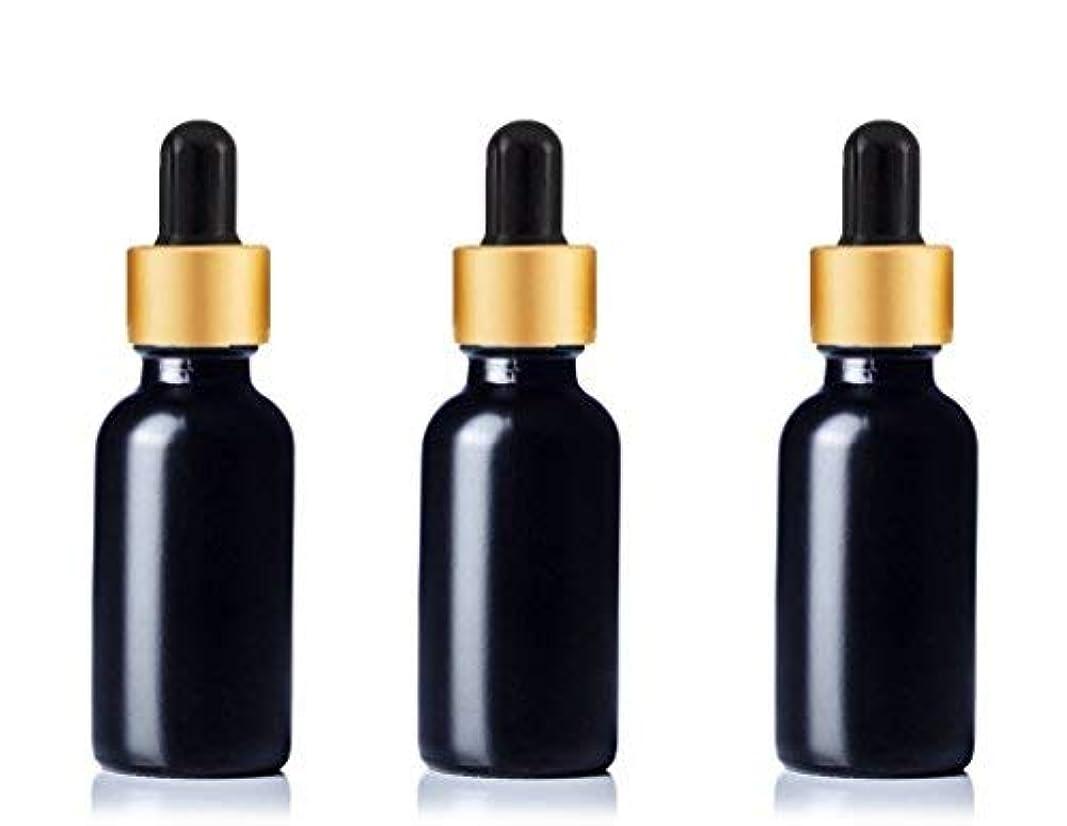 哲学博士小人バイオリンGrand Parfums Upscale 30ml Boston Round Dropper Bottle, Matte Black Glass with Gold Aluminum Hood and Black Bulb...