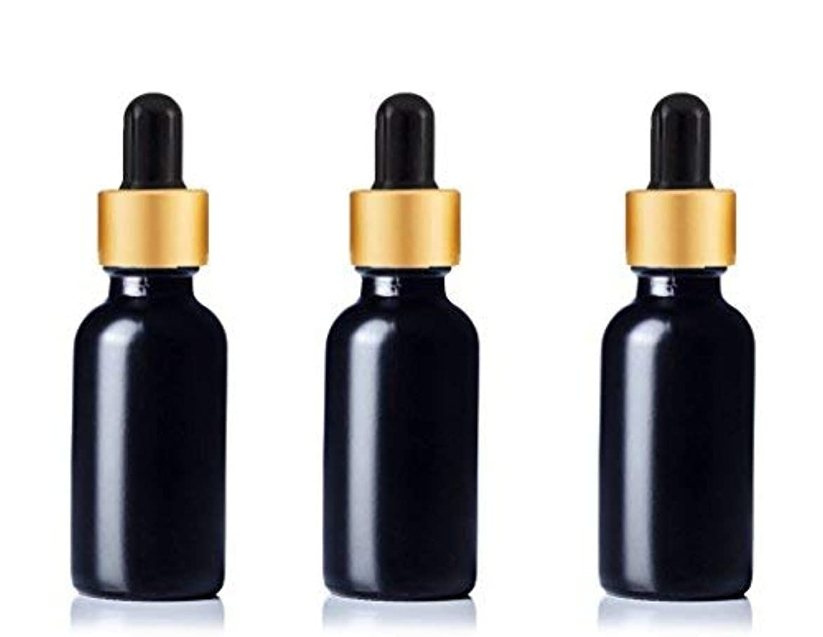 怒っている対角線分注するGrand Parfums Upscale 30ml Boston Round Dropper Bottle, Matte Black Glass with Gold Aluminum Hood and Black Bulb...