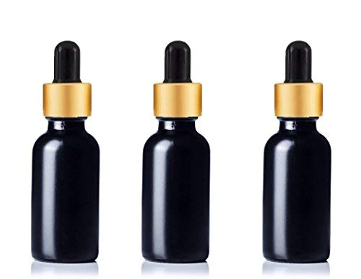 Grand Parfums Upscale 30ml Boston Round Dropper Bottle, Matte Black Glass with Gold Aluminum Hood and Black Bulb...
