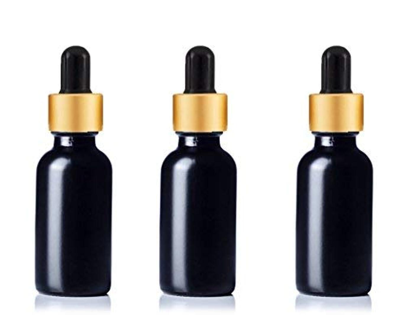 科学者前進かりてGrand Parfums Upscale 30ml Boston Round Dropper Bottle, Matte Black Glass with Gold Aluminum Hood and Black Bulb...