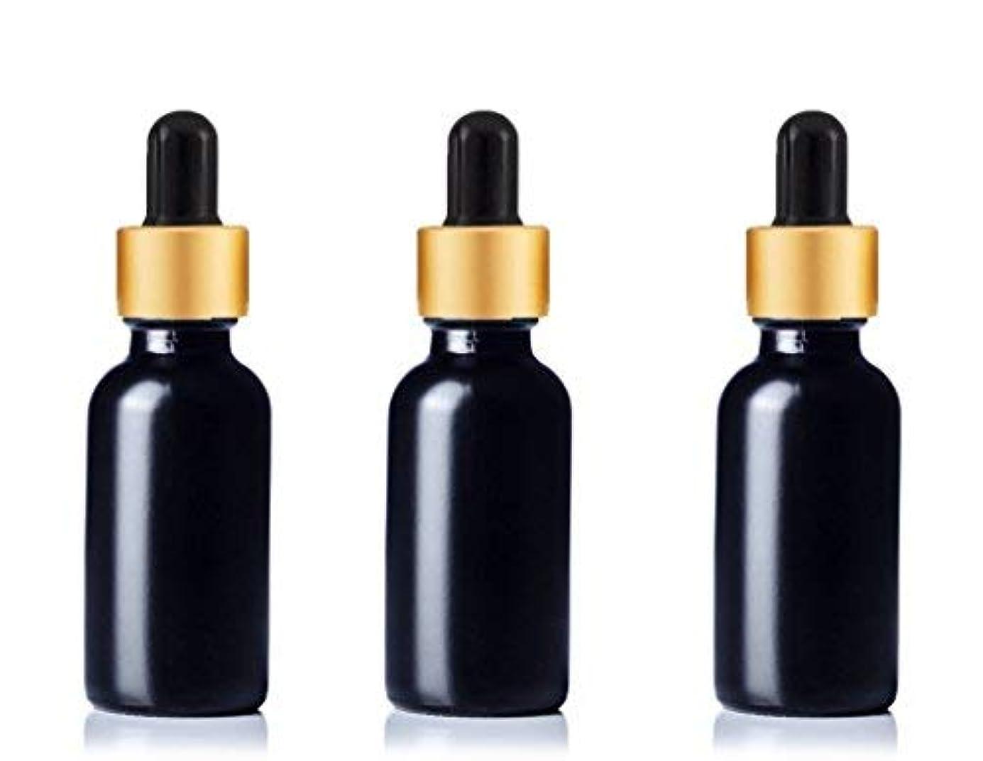 削減初心者カトリック教徒Grand Parfums Upscale 30ml Boston Round Dropper Bottle, Matte Black Glass with Gold Aluminum Hood and Black Bulb...
