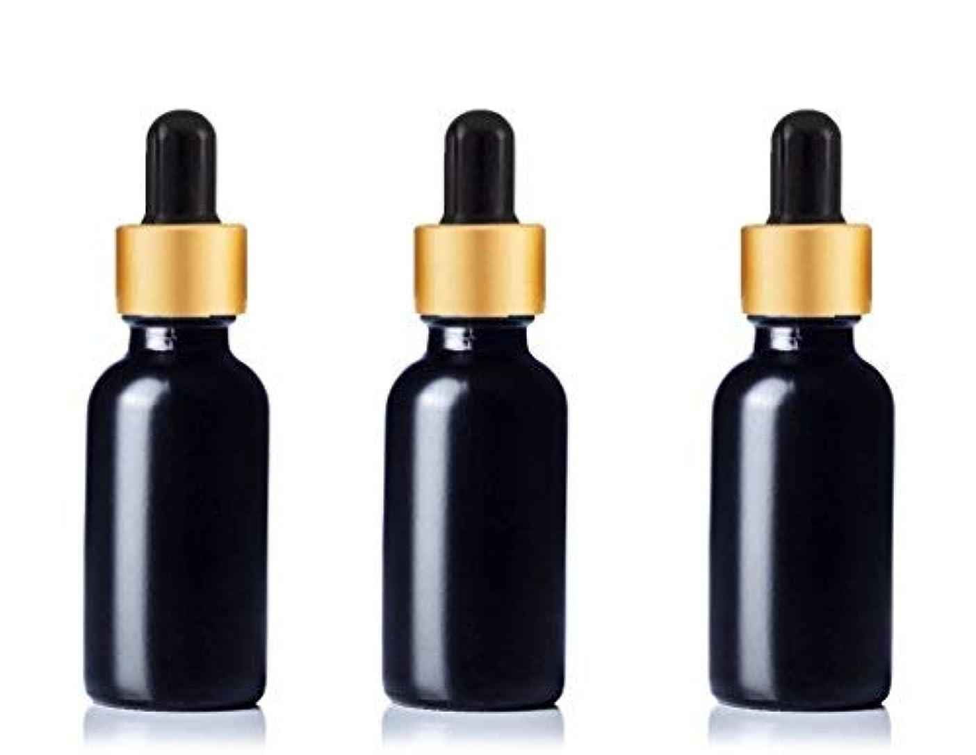 災害暗殺責めるGrand Parfums Upscale 30ml Boston Round Dropper Bottle, Matte Black Glass with Gold Aluminum Hood and Black Bulb...