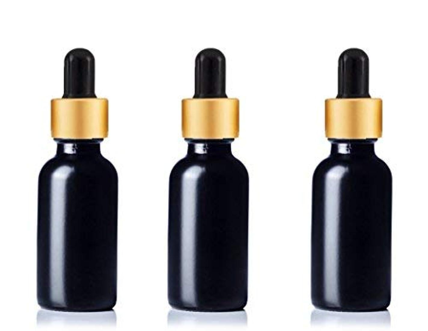 プログレッシブ恐れる先見の明Grand Parfums Upscale 30ml Boston Round Dropper Bottle, Matte Black Glass with Gold Aluminum Hood and Black Bulb...