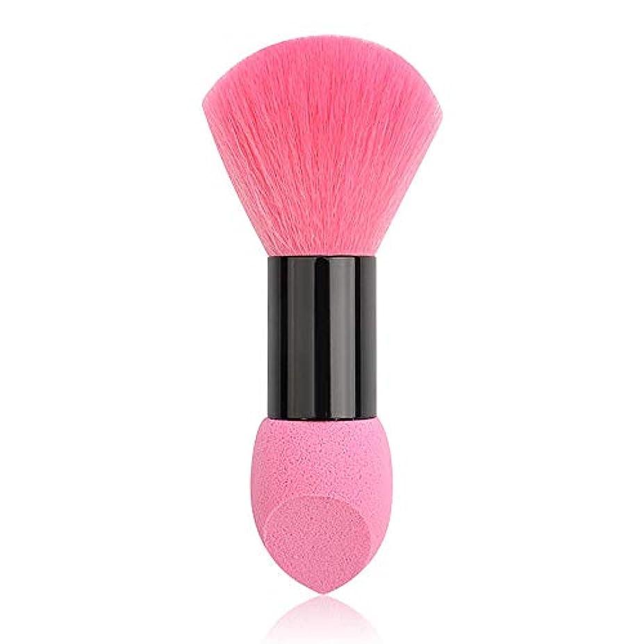 ミニチュアリスキーな無駄にAIFHI ダブルヘッド化粧ブラシ 化粧筆 ファンデーションブラシ フェイスブラシパフツーインワン(ピンク)
