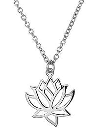 bobauna ステンレススチール 蓮の花ペンダントネックレス ヨガジュエリー 彼女へのインスピレーションを与えるギフト