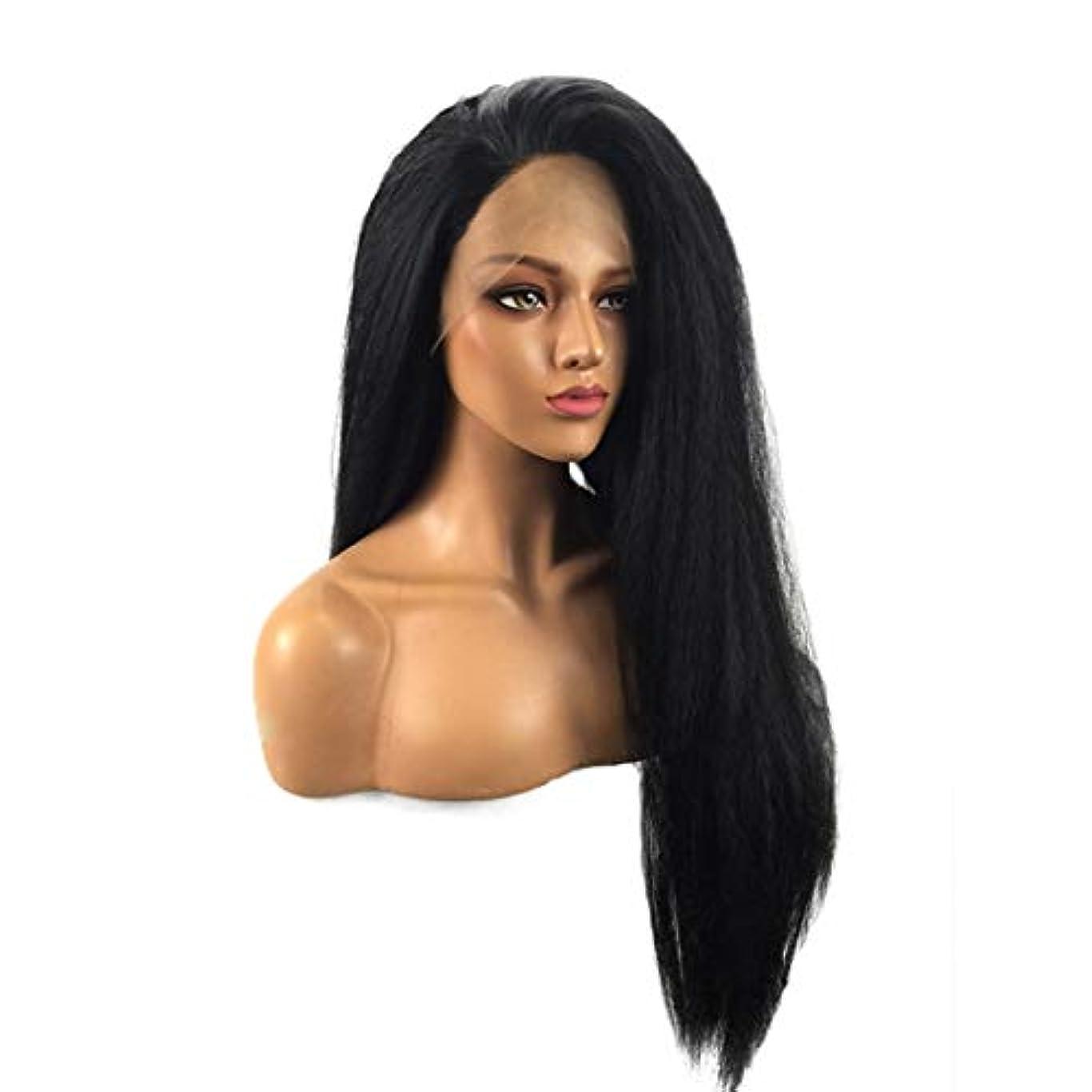 美徳ブレスマラソンKoloeplf レースフロントウィッグロングナチュラルストレート耐熱人工毛かつら女性用26インチ (Size : 26inch)