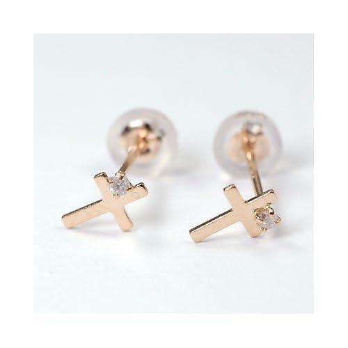 [キュートジュエリー]Cute jewerly ダイヤモンドピアス K18PG ダイヤ0.025ct クロスピアス
