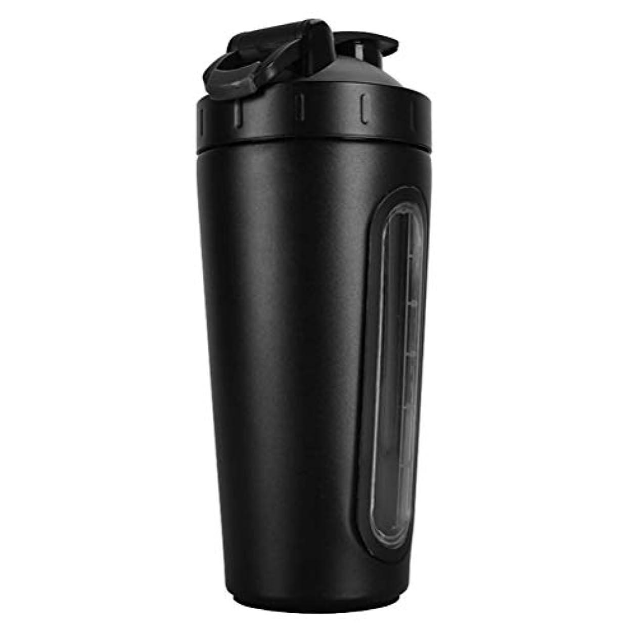 達成評決ウサギErose-BD 2019新型 304ステンレスプロテインシェイカーボトル プロテインシェイカー シェイカー ボトル 水筒 ウォーターボトル (800ml) 1個 黒