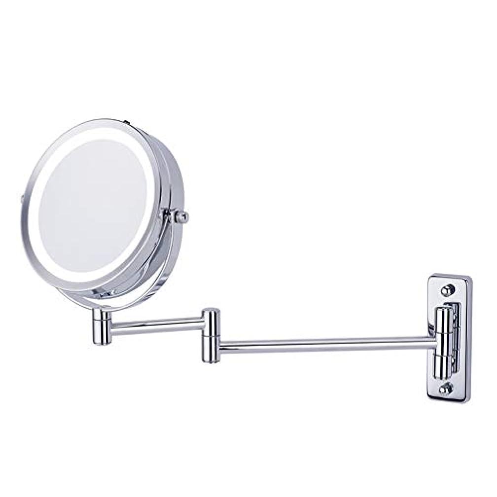 促す毒セーターCatChi 壁付けミラー 両面化粧鏡 折りたたみ 5倍拡大鏡 LED 女優ミラー 360度回転 メイク道具 洗面所 お風呂用 アームミラー