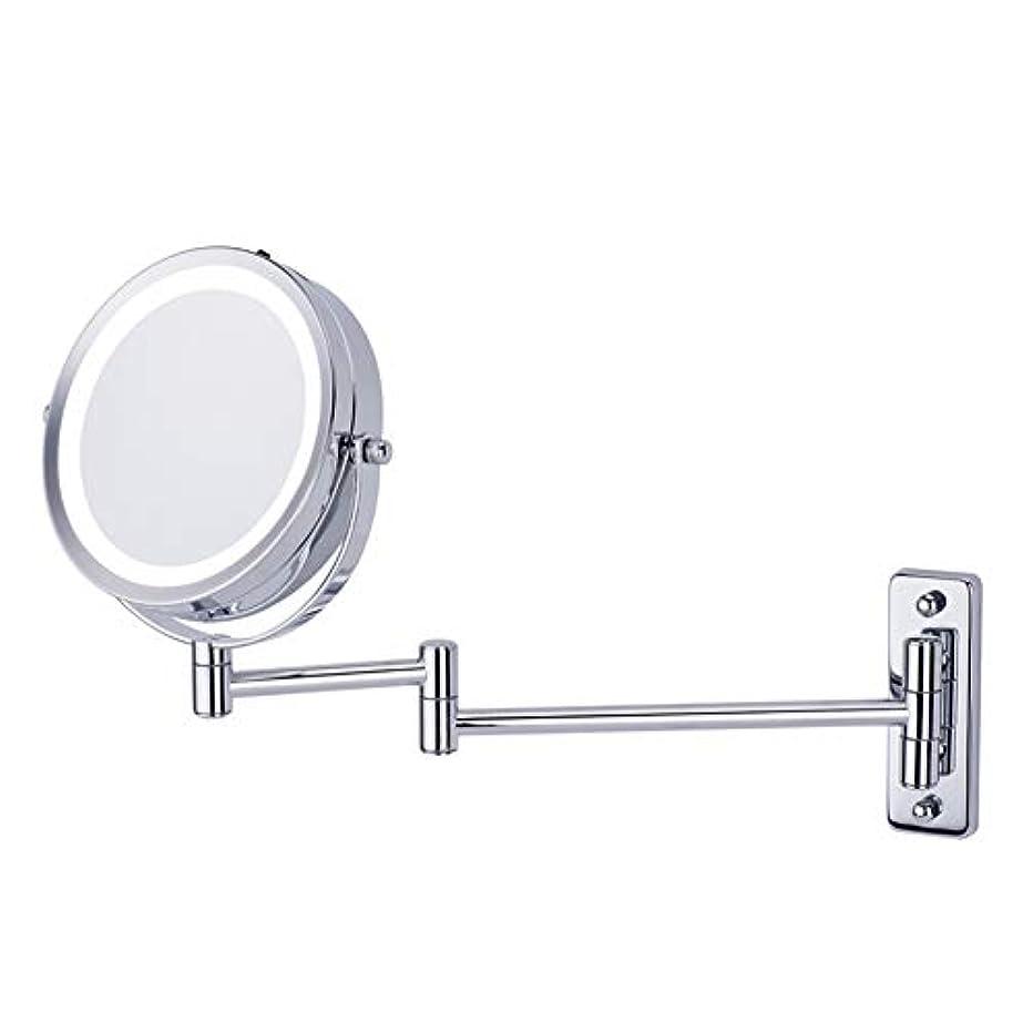 離れた全員前奏曲CatChi 壁付けミラー 両面化粧鏡 折りたたみ 5倍拡大鏡 LED 女優ミラー 360度回転 メイク道具 洗面所 お風呂用 アームミラー