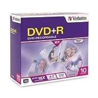 Verbatimディスク、DVD + R, 4.7GB、16x、10/ PK、ブランドサーフェス、スリムケース10/ PK