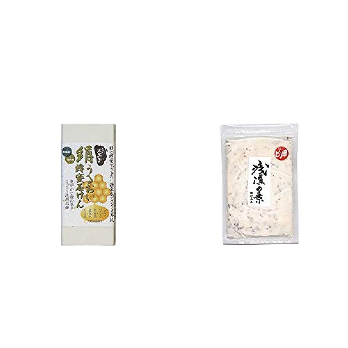 肉屋広範囲にバッグ[2点セット] ひのき炭黒泉 絹うるおい蜂蜜石けん(75g×2)?浅漬けの素[小](150g)