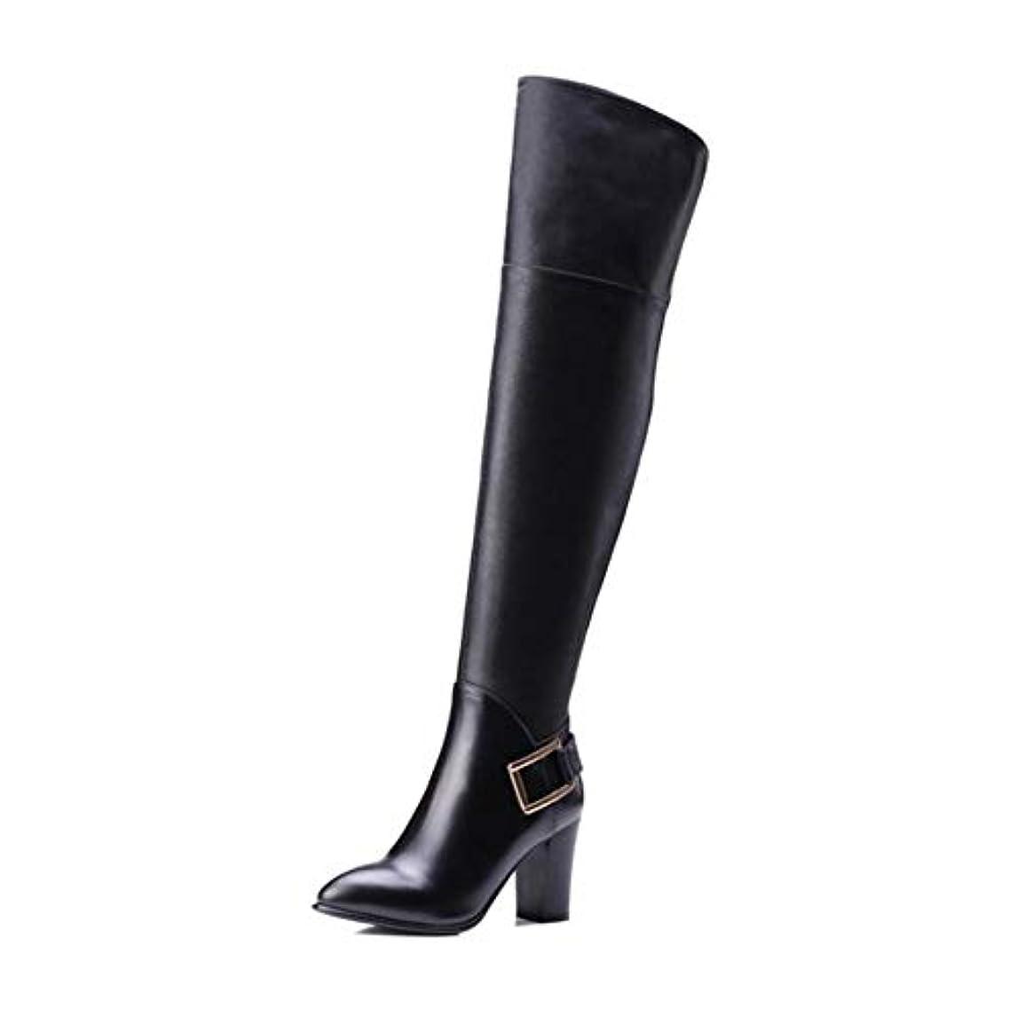 敬礼ラブ水平レディースシューズ、革のポイントブーツ、女性の膝の高いブーツ、冬の新しい厚いヒールロングブーツ、ハイヒールブーツ、マーティンブーツ (色 : ブラック, サイズ : 39)