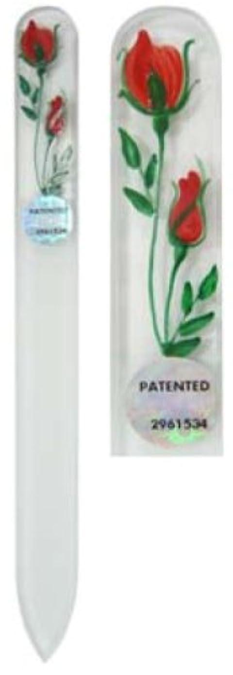 材料契約微生物Blazek(ブラジェク) ガラス製爪やすり ハンドペイントMサイズ 140mm チェコ製 レッド 82SYP102